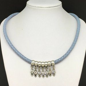 Premier Designs Blue Braided Leather Rope Necklace